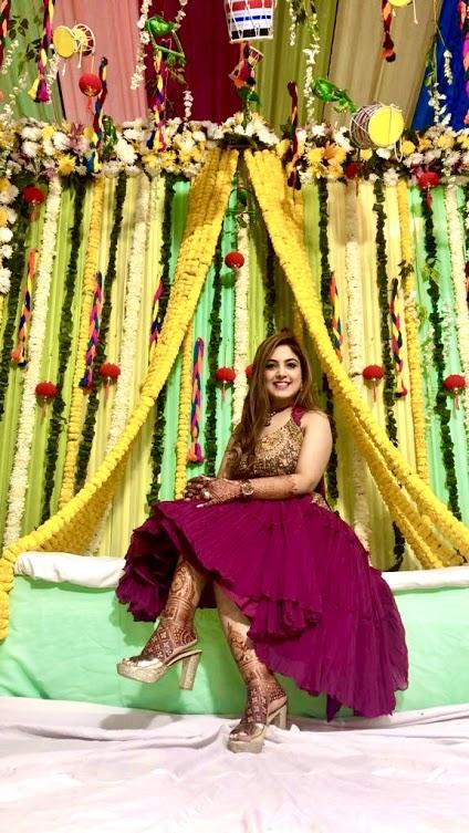Gargi looking gorgeous in her unique corset and top for her Big fat Punjabi wedding's Jaggo Night