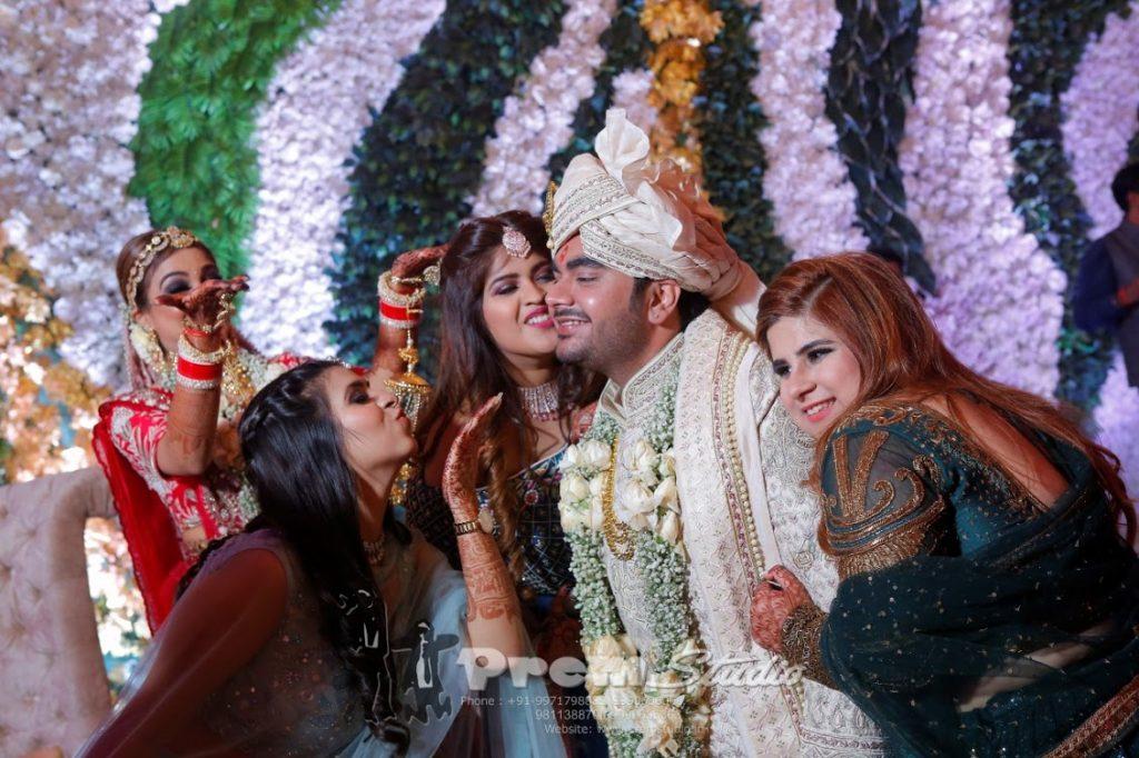 Fun portraits of Saurabh with friends captured at his Punjabi Wedding held at Hotel Ritz Gurgaon