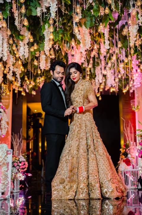 Stunning Portraits of Harsha and Kunal from their beautiful wedding reception post the Sea Princess Juhu Wedding