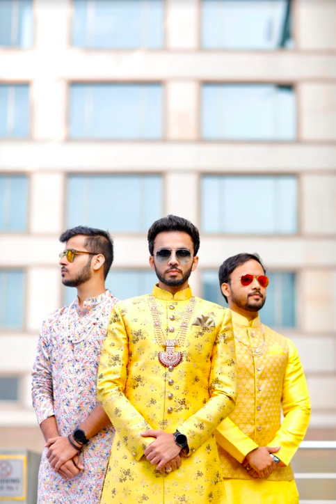 Granth's Photoshoot with his groomsmen captured at at his Haldi Function before Crowne Plaza Gurgaon Wedding