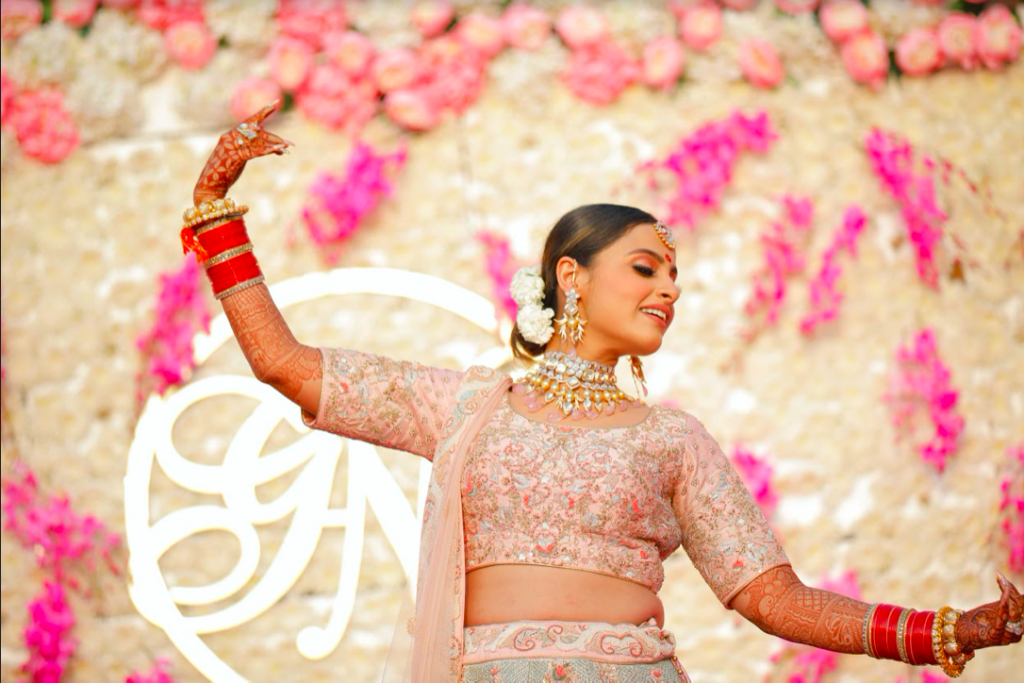 Solo Dance Performance Candids of Nishtha captured from her Pastel themed Wedding in Delhi