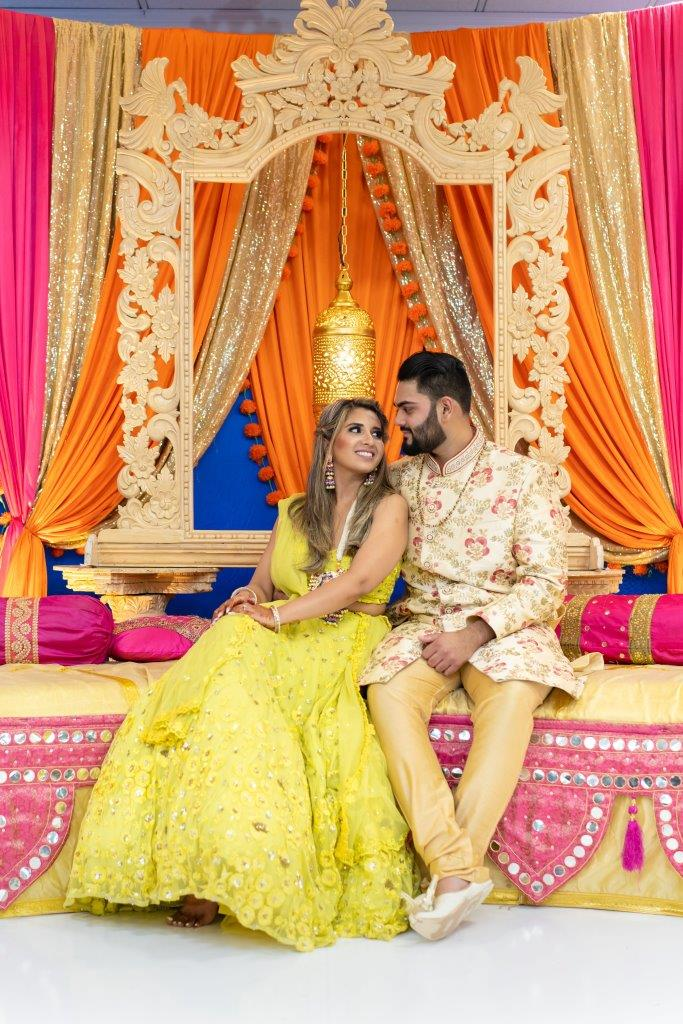 Vrunda & Sunny's candid at the sangeet ceremony of their forest themed wedding