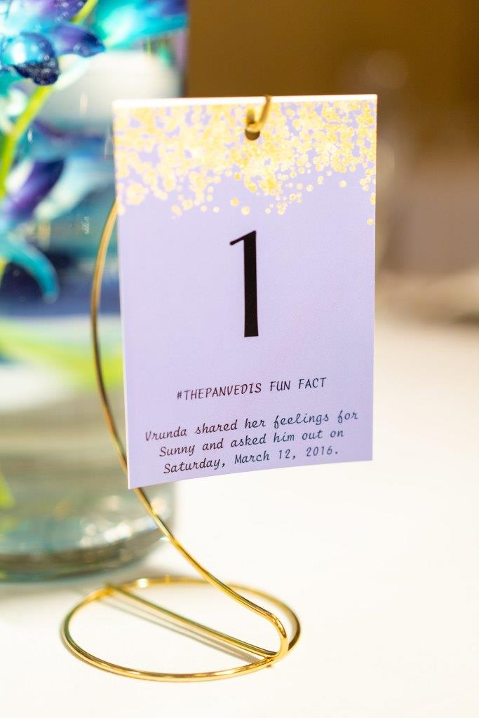 Cute couple fun facts table piece as one of the quirky decor ideas at Vrunda & Sunny's Indoor forest themed wedding reception in Boston