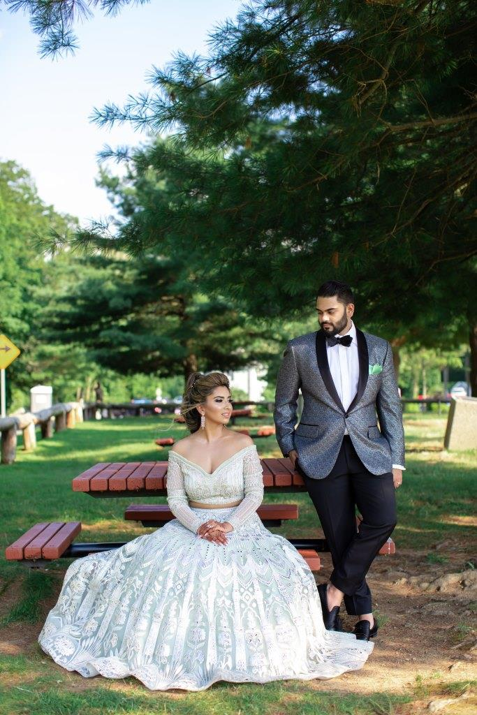 Vrunda & Sunny's candid at the photoshoot on their forest themed wedding reception