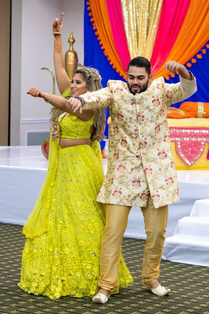 Vrunda & Sunny Dancing at their sangeet ceremony at Doubletree by Hilton Boston