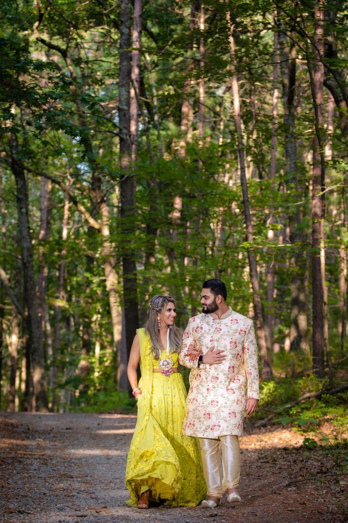 Vrunda & Sunny phototshoot picture in forest before the sangeet ceremony