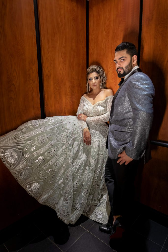 Vrunda & Sunny's picture from their indoor forest themed wedding reception