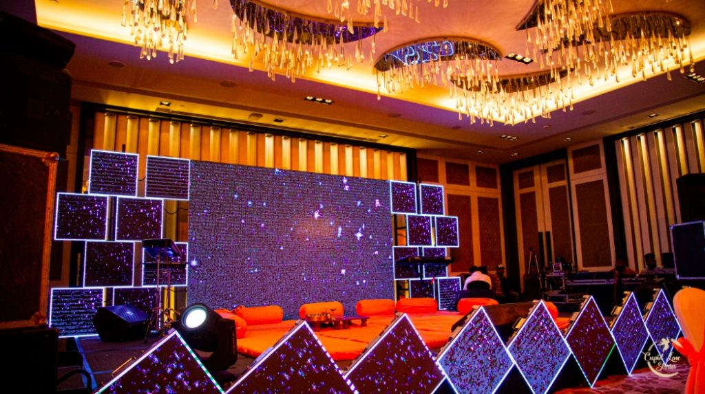 Lovely Stage Decor at this Indian Ring Ceremony before Dehradun Wedding