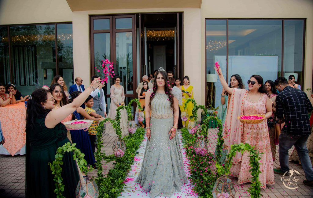Beautiful Engagement Entry of Bride Aparna with flower shower at JW Marriott Mussoorie Walnut Grove