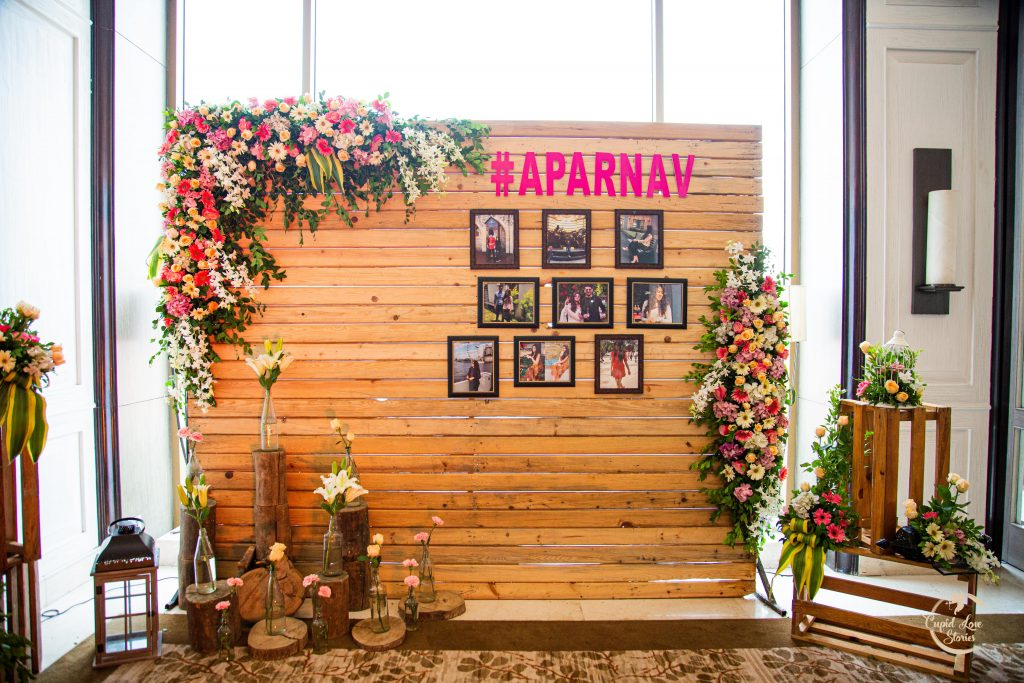 Rustic theme wedding decor at this Destination Engagement party at JW Mussoorie